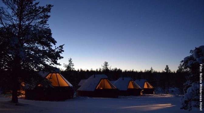 Finnland Winterurlaub Nordlichter Hütten