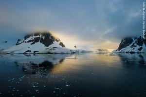 Antarktis Sonnenuntergang